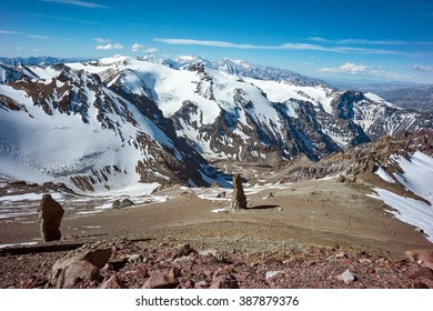 Valley view from Guanacos camp at 5500 meters on Aconcagua Provincial Park, Mendoza, Argentina, South America.