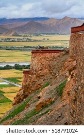 Valley view from a terrace at the Gyantse fort, Tibet