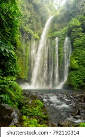 A valley with a waterfall in tropical forest of Indonesia