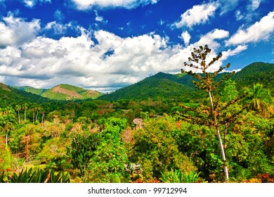 Valleys and mountains in Pinar del Rio, Cuba, a natural touristic attraction and a worldwide known tobacco growing area