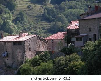 Vallfogona del Ripolles, Catalonia, Spain: several houses of the old village