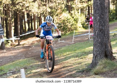 VALLNORD, ANDORRA  - JULY 18:  CYCLIST in the MERCEDES-BENZ UCI MTB WORLD CUP XCO MASTERS WOMAN 2018 - DHI Vallnord, Andorra on July 18.