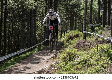VALLNORD, LA MASSANA, ANDORRA  - JULY 18 :  CYCLIST in the MERCEDES-BENZ UCI MTB WORLD CUP 2018 - DHI Vallnord, Andorra on July 18.