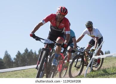 VALLNORD, LA MASSANA, ANDORRA : July 18, 2018 : PRETEL QUILES Francisco ESP in the MERCEDES-BENZ UCI MTB WORLD CUP MASTERS 35 - 40 2018 - XCO.