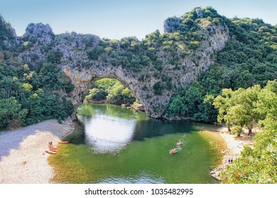 Vallon Pont d'Arc, Natural Rock bridge over the River in the Ardeche Canyon, southern France.