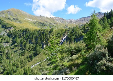 the Vallon of Rechy in the Southern Swiss Alps above the town of Sierre with the Roc d'Orzival in the distance