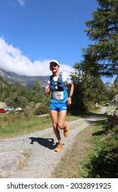 vallorcine, france, 08 26 2021: occ runners (utmb) in the mountains