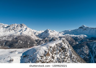 Valmalenco, ski station. Panoramic view from a drone
