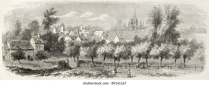 Valognes old view, France. Created by Rouargue after d'Hastrel, published on L'Illustration, Journal Universel, Paris, 1858