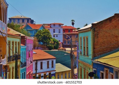 VALPARAISO, CHILE -27 JAN 2017- View of Valparaiso, a port city on the Pacific Ocean near the Chilean capital of Santiago.