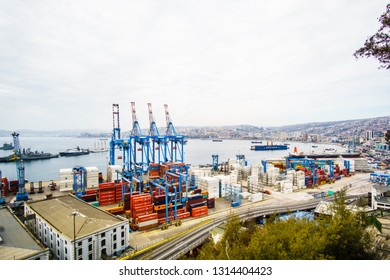 VALPARAISO, CHILE - April 15, 2017 - View on Cranes in a port of Valparaiso, Chile