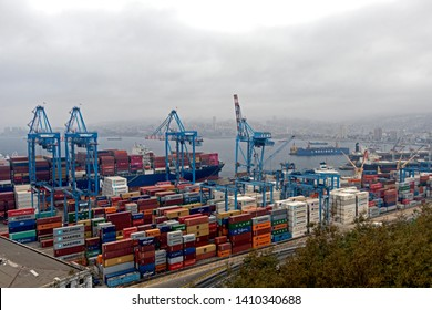 Valparaiso, Chile – April 3, 2019: View to the city port with numerous containers at seaport of Valparaíso, a major distribution center for container traffic and main passenger port in Chile