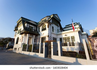 VALPARAISO, CHILE - AUGUST 09: view of Palacio Baburizza, historic monument, from the street on August 09, 2019