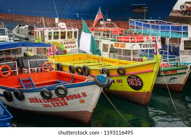 VALPARAISO, CHILE - AUGUST 16: Colorful boats in the harbor of Valparaiso, on August 16, 2018 in Chile