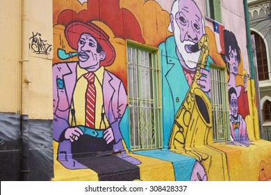 VALPARAISO, CHILE - AUGUST 20, 2015: Colourfully decorated houses and steps in the Cerro Concepcion area of the UNESCO World Heritage port city of Valparaiso in Chile.