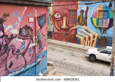VALPARAISO, CHILE - AUGUST 20, 2015: Colourfully decorated houses and steps in the Polanco area of the UNESCO World Heritage port city of Valparaiso in Chile.