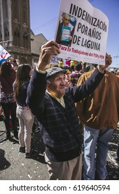 Valparaiso, Chile - August 21, 2016: Chileans marched through Valparaiso's streets, demanding an end to the private pension system (AFP) created during the Pinochet dictatorship.