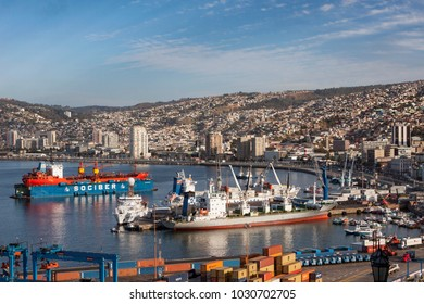 VALPARAISO, CHILE- FEB 10: The busy cargo seaport in South America on February 10, 2010 in Valparaiso, Chile. It is the most important seaport in Chile.