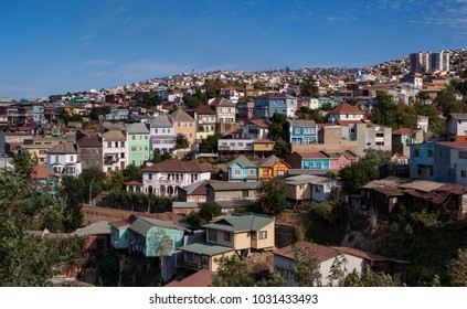 VALPARAISO, CHILE- FEB 10: The colorful houses and hectic street in Valparaiso, Chile on February 10, 2010 in Valparaiso, Chile. It is the most important seaport in Chile.