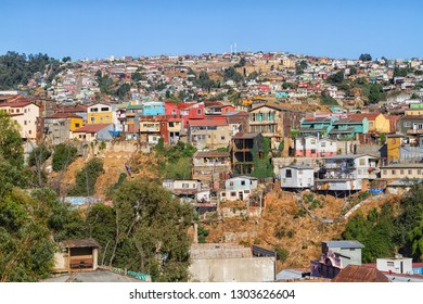 VALPARAISO, CHILE - FEB 20, 2016: Colorful buildings on the hills of the UNESCO World Heritage city of Valparaiso, Chile