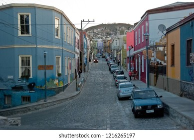 Valparaiso / Chile - Feb 2012: Colorful houses in the historic city of Valparaiso, UNESCO World Heritage.