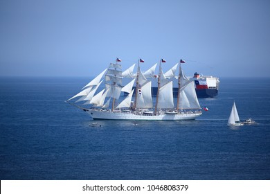 "Valparaiso, Chile - February 06, 2009: Chilean sailing ship, ""Buque Escuela Esmeralda"""