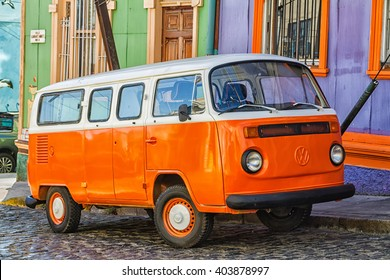 VALPARAISO, CHILE - FEBRUARY 10: VW transporter T2 parked in Valparaiso, Chile on February 10, 2015. The famous mini bus was manufactured for almost 64 years in 1949-2013.