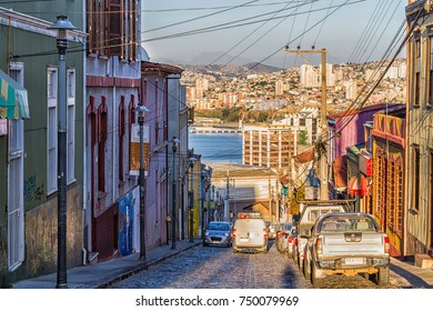 VALPARAISO, CHILE - FEBRUARY 15, 2016: Colorful buildings on the hills of the UNESCO World Heritage city of Valparaiso, Chile