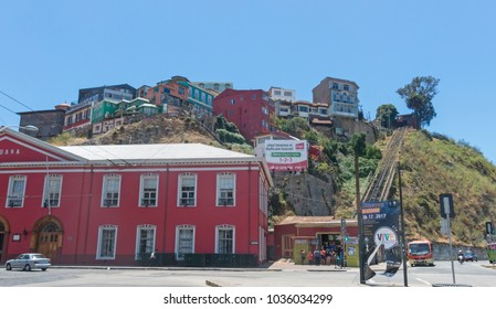 VALPARAISO, CHILE - FEBRUARY 2, 2018: The Artilleria funicular in Valparaiso, Chile. The elevator was built in 1892 along the sea port and is 175 meters tall.
