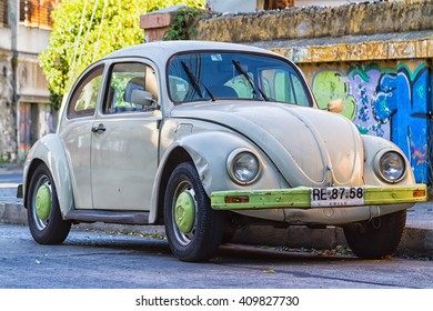 VALPARAISO, CHILE - FEBRUARY 20, 2016: Old motor car Volkswagen Beetle at the town street.