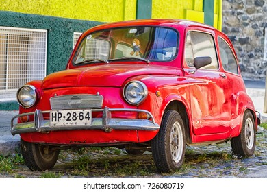 VALPARAISO, CHILE - FEBRUARY 20, 2016: Fiat 500 parked Valparaiso. Fiat 500 was one of the most produced European cars ever with 3,893,294 units manufactured in years 1957-1975.