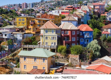 VALPARAISO, CHILE - FEBRUARY 20, 2016: Colorful buildings on the hills of the UNESCO World Heritage city of Valparaiso, Chile