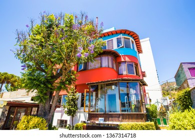 VALPARAISO, CHILE - February 2019: Pablo Neruada house Sebastiana in Valparaiso, Chile