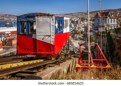 Valparaiso, Chile, January 11, 2017:  Arrival of the elevator Artilleria in the station. Historical monument built in 1893. Its decoration represents the Chilean flag.