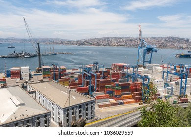 VALPARAISO, CHILE- JANUARY 2, 2018: The busy cargo seaport in South America in Valparaiso, Chile. It is the most important seaport in Chile.