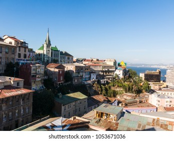 VALPARAISO, CHILE - JANUARY 2, 2018: View on Cityscape of historical city Valparaiso, Chile. The colorful houses and hectic street in Valparaiso. It is the most important seaport in Chile.