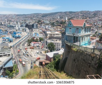 VALPARAISO, CHILE - JANUARY 2, 2018: Cityscape of Valparaiso city from Artilleria funicular, Chile. The colorful houses and hectic street in Valparaiso. It is the most important seaport in Chile.