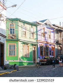 VALPARAISO, CHILE - JANUARY 2, 2018: Urban scene, with people walking, through the streets of Valparaiso, in Chile.