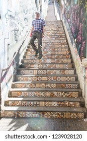 VALPARAISO, CHILE- JANUARY 2, 2018: the one known as Cienfuegos stairs, which goes from Calle Serrano to the square Eleuterio Ramírez, made of mosaic pieces. Center od Valparaiso