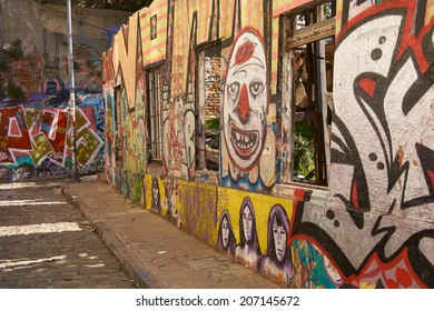 VALPARAISO, CHILE - JULY 23, 2014: Colourful urban art decorating a street in the world heritage city of Valparaiso in Chile