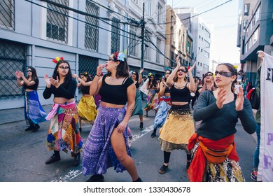 Valparaiso, Chile - June 01, 2018: Chileans marched through Valparaiso's streets, demanding an end to Sexism in the Education System.
