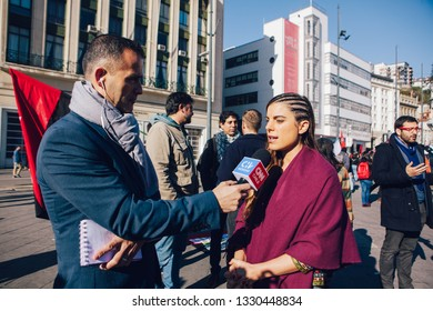 Valparaiso, Chile - June 01, 2018: Maite Orsini , Chilean politician (Deputy of the Republic) is interviewed by Ivan Nunez of CNN Chile during a protest against sexism in education.