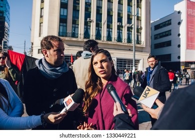 Valparaiso, Chile - June 01, 2018: Maite Orsini, lawyer, former actress and Chilean politician (Deputy of the Republic) speaks to the television media during a protest against sexism in education