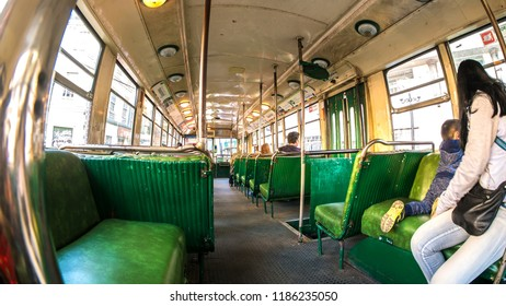 VALPARAISO, CHILE - JUNE 22: View of a ride with a historic Bus through the city on June 22, 2016 in Valparaiso, Chile.