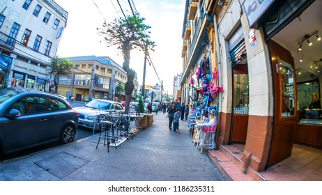 VALPARAISO, CHILE - JUNE 22: View of a walk through the city on June 22, 2016 in Valparaiso, Chile.