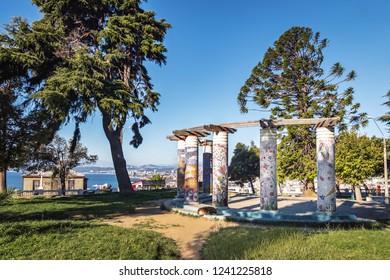 Valparaiso, Chile - Mar 18, 2018: Plaza Bismarck Square - Valparaiso, Chile