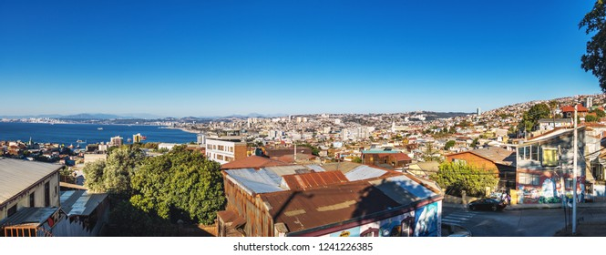 Valparaiso, Chile - Mar 18, 2018: Panoramic aerial view of Valparaiso from Plaza Bismarck at Cerro Carcel Hill - Valparaiso, Chile