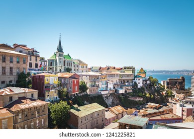 Valparaiso, Chile - Mar 19, 2018: Valparaiso Skyline with Lutheran Church - Valparaiso, Chile