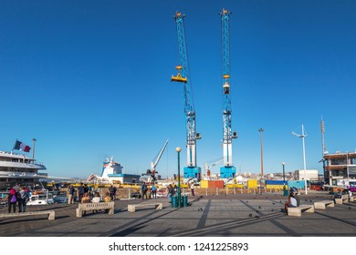 Valparaiso, Chile - Mar 19, 2018: Cranes at Valparaiso Harbor - Valparaiso, Chile