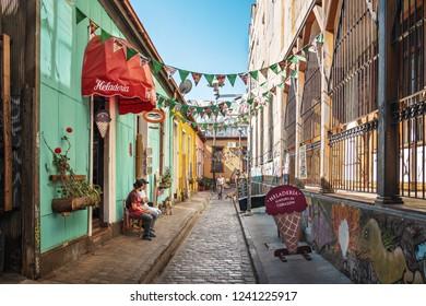 Valparaiso, Chile - Mar 19, 2018: Pasaje Galvez Street - Valparaiso, Chile